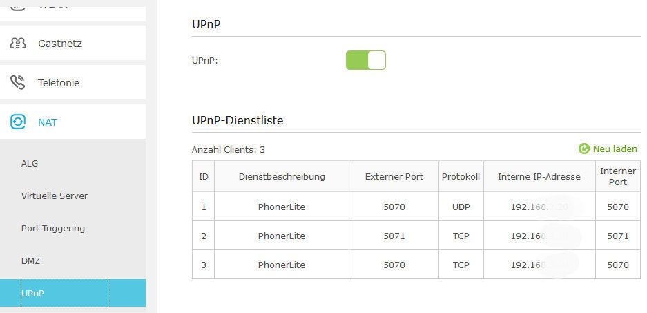 Aktivierung UPnP