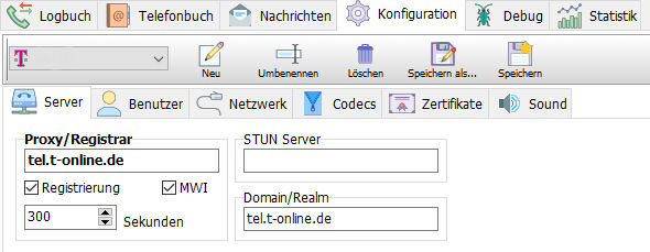 phonerlite Einstellung STUN-Server